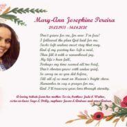 First Death Anniversary – Mary-Ann Pereira